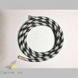 Провод текстильный зигзаг black+white