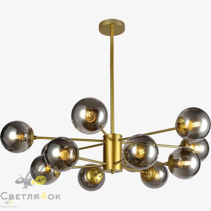 Люстра в стиле лофт молекула 7526033-12 GD+BK